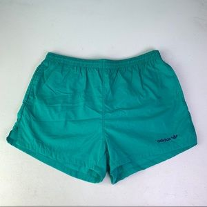Vtg 80s Adidas Nylon Shorts Medium Seafoam Blue